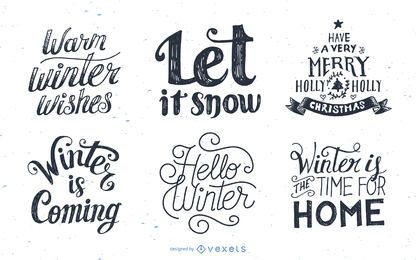 Set of winter lettering designs