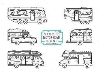 Stroke motor home icon set