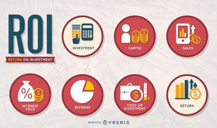 Business ROI icon set