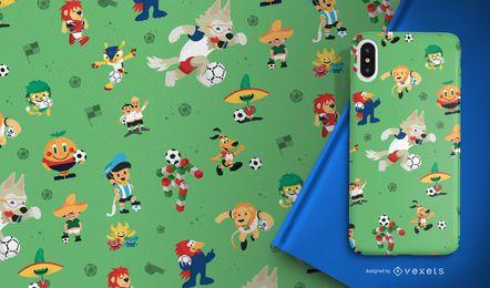 Football World Cup mascots pattern