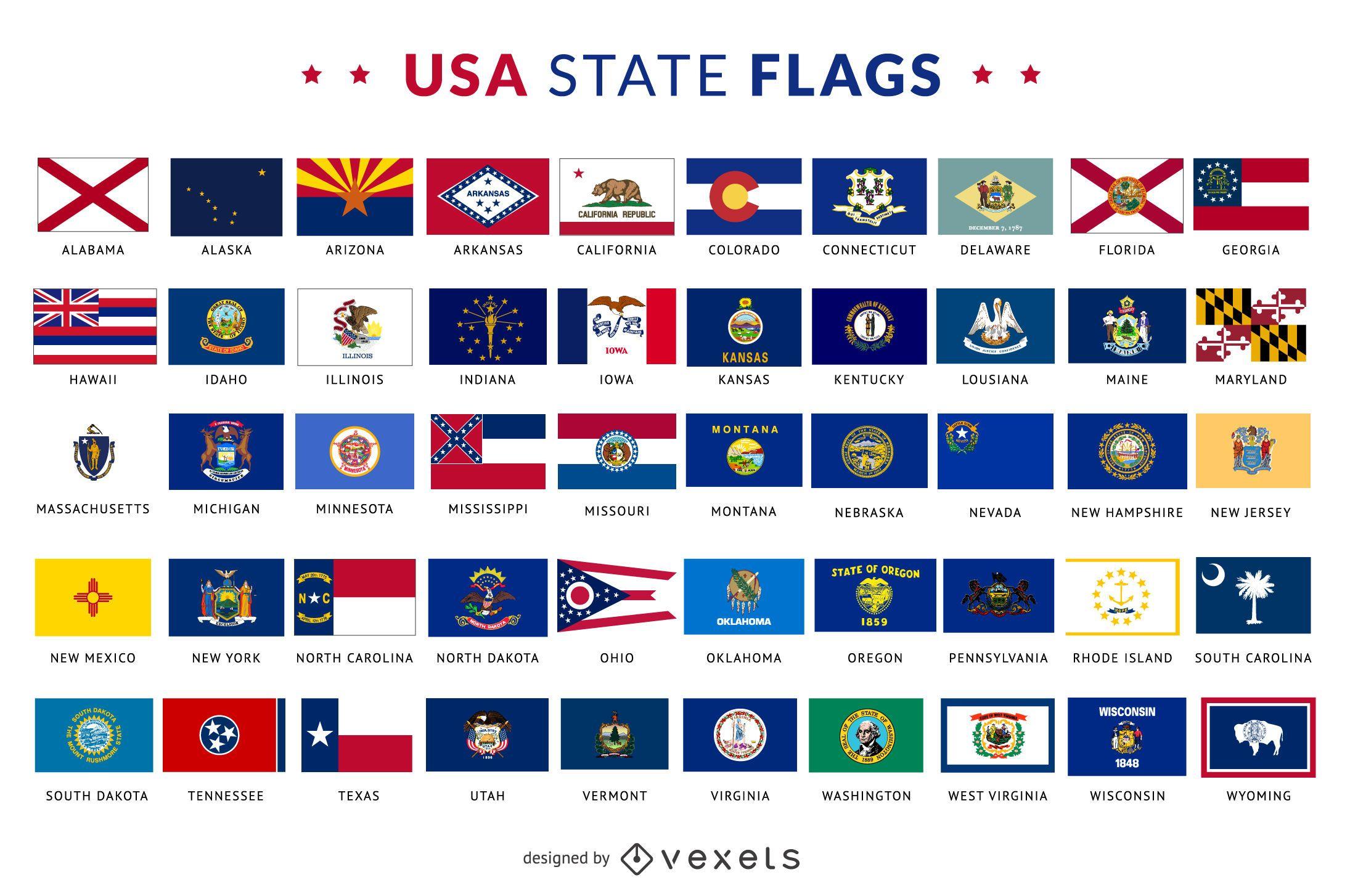 Colección de banderas del estado de Estados Unidos - Descargar vector