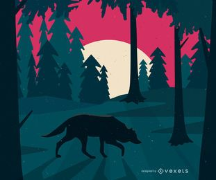 Wolf on forest illustration