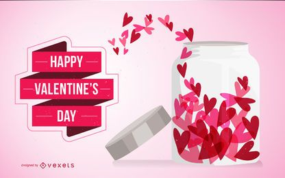Valentine's Day card with hearts in jar