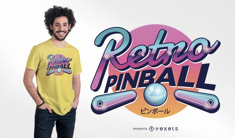 Diseño retro de camiseta de pinball