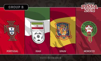 Rusia 2018 banderas del grupo B emblema