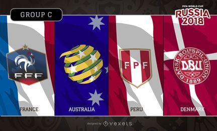 Rusia 2018 banderas y logotipos del grupo C