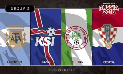 Rusia 2018 banderas del Grupo D