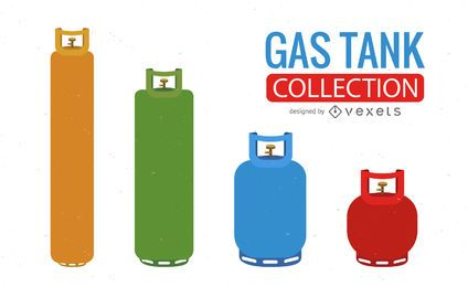 Colorful gas tank illustration set