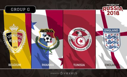 Russia 2018 Group G flags and emblems