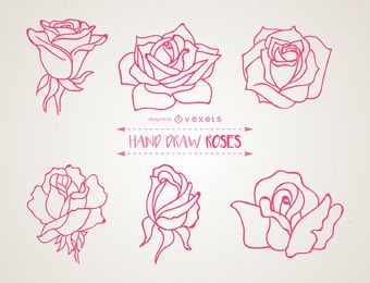 Set of hand drawn roses illustrations