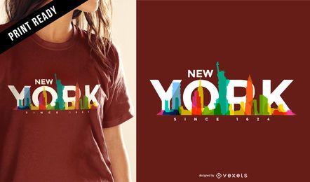 Diseño colorido de la camiseta del horizonte de Nueva York