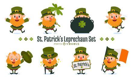 St Patrick's leprechaun illustration set