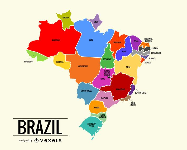Colorful Brazil map - Vector download
