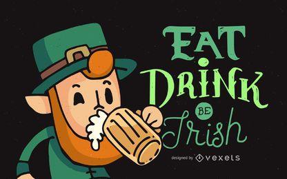Leprechaun de San Patricio con cerveza