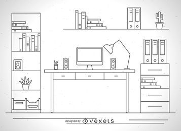 Desk illustration outline