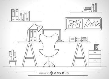 Ilustración de escritorio de trazo