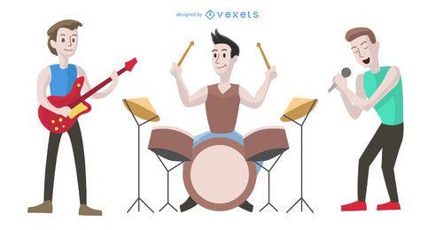 Ilustración de dibujos animados de banda de chicos