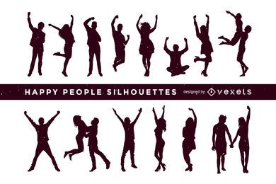Happy people silhouettes collection