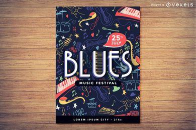 Concepto de cartel de festival de música de blues