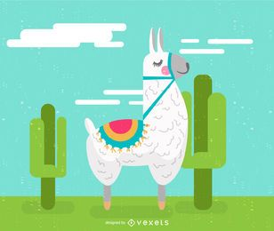 Llama cartoon illustration