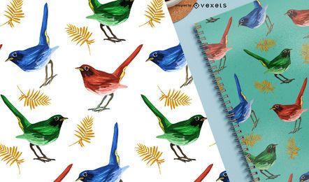 Finches bird tropical seamless pattern