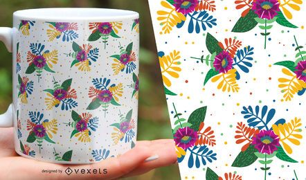 Exotic flower and leaves seamless pattern