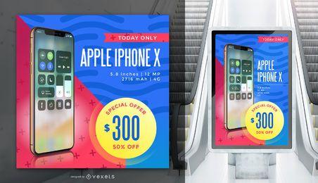 Maqueta de banner de publicidad de Iphone X