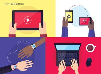 People using technology illustration set