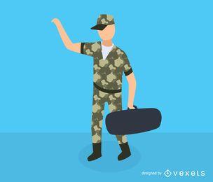 Icono isométrico de hombre militar