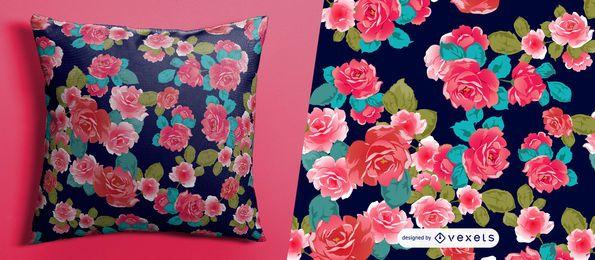 Patrón floral rosas rojas