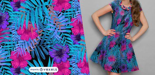 Patrón de hojas y flores azules