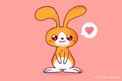 Lindo conejo de dibujos animados