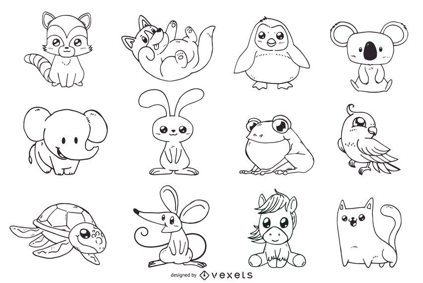 Cute animals outline illustrations set