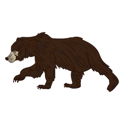 Brown bear walking cartoon