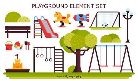 Conjunto de elementos de patio de niños