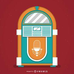 Ilustración de la máquina de discos de música vintage