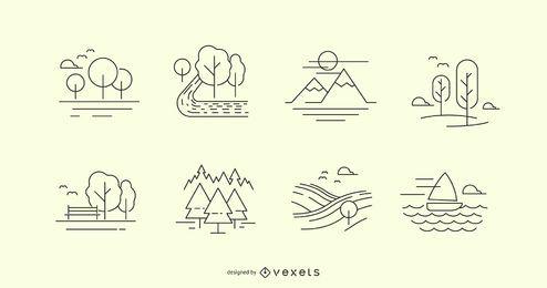 Nature line icons set