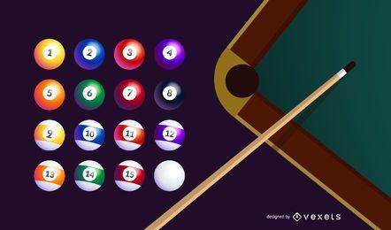 Vector de elementos de billar