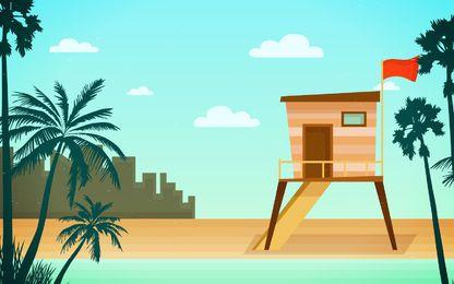 Ilustración de horizonte de torre de rescate de playa