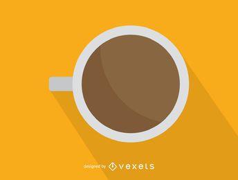 Vista superior del icono de la taza de café