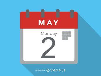 Icono de oficina simple de calendario