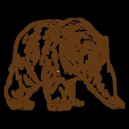 Elder brown bear stroke cartoon