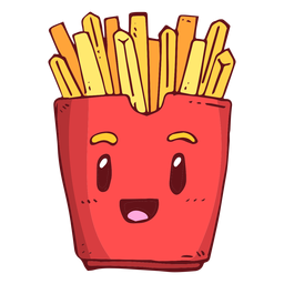 Fries box character cartoon