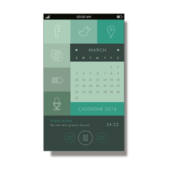 Green calendar mobile interface