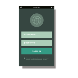 Green sign up mobile interface