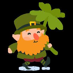 Leprechaun carrying clover cartoon