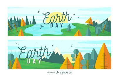 Conjunto de banner de paisaje de tierra día