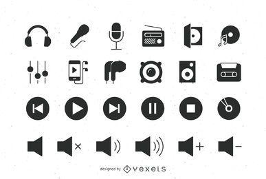 Audio flat icons set