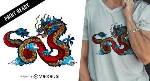 Diseño de camiseta de dragón chino