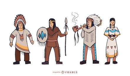Native american characters doodle set